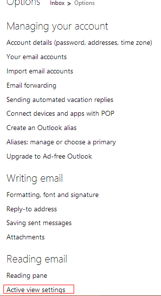 active view settings in outlook.com