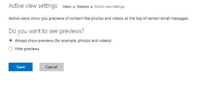 enabling or disabling content preview in outlook.com
