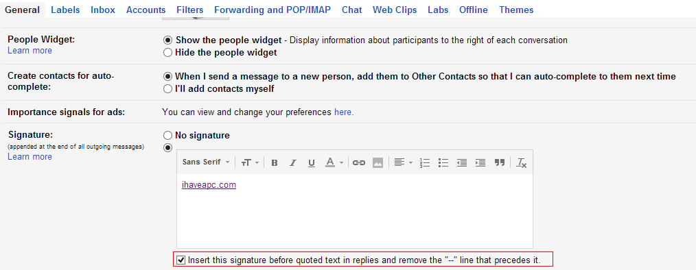Changing signature settings in gmail