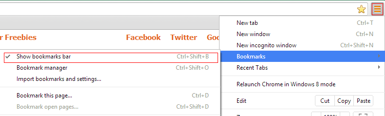 Enable bookmarks bar in Google Chrome