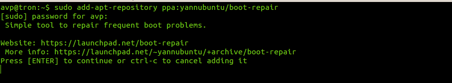 installing boot-repair tool in Ubuntu