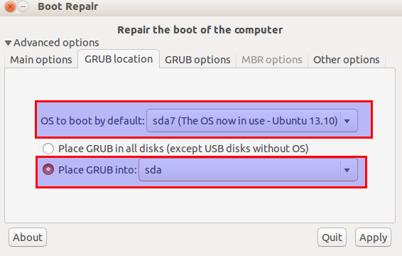 advanced options for boot-repair tool in Ubuntu