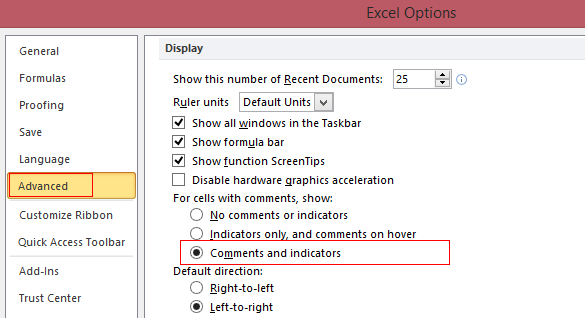 Changing comment display settings for Excel cells