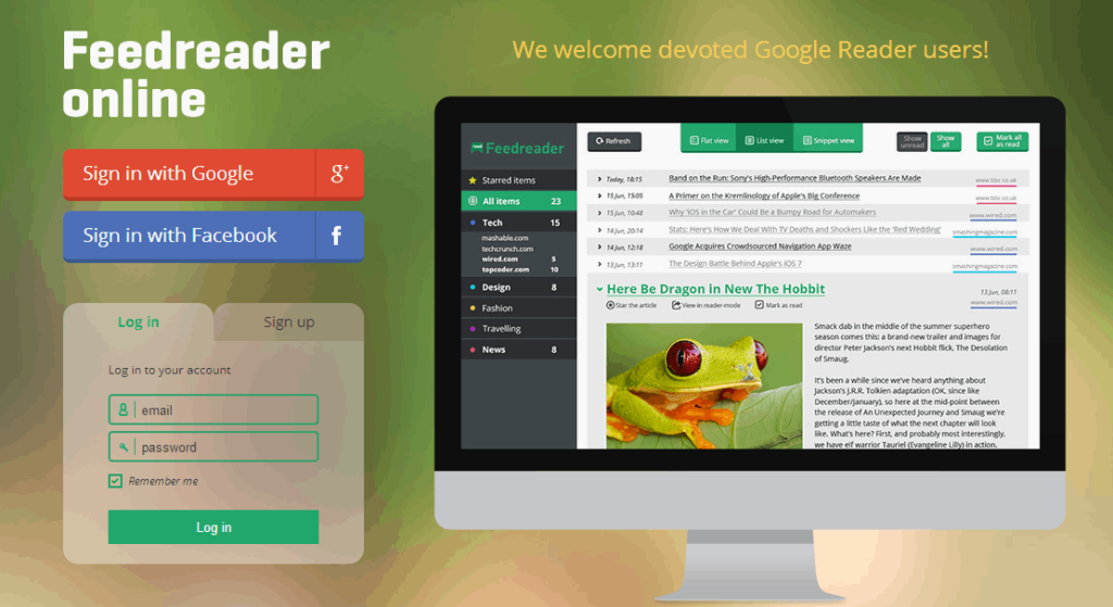 Feedreader online home page