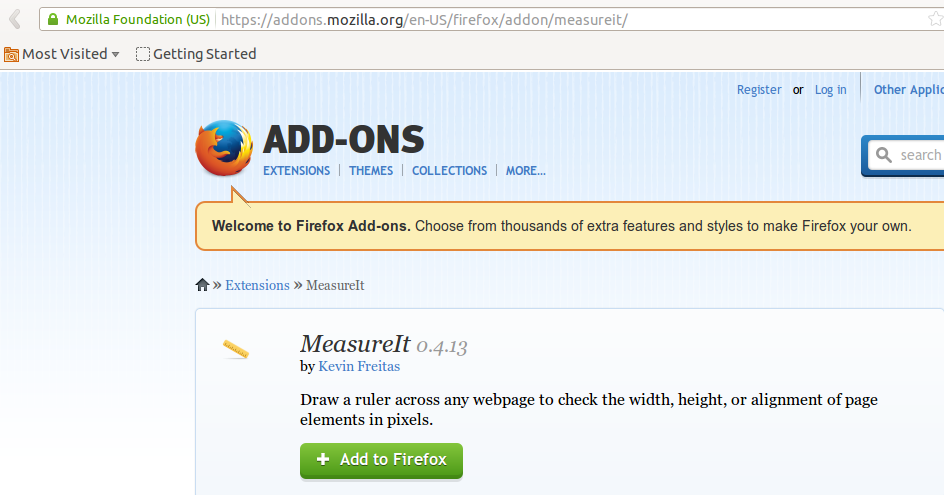 MeasureIT add-on for Firefox