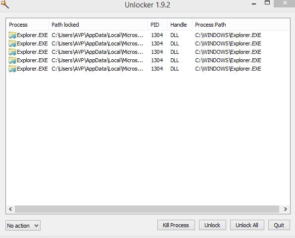 list of processes that lock the specific folder as seen by Unlocker
