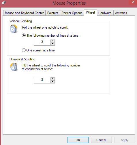 Changing the mouse scroll wheel settings in Windows 8.1