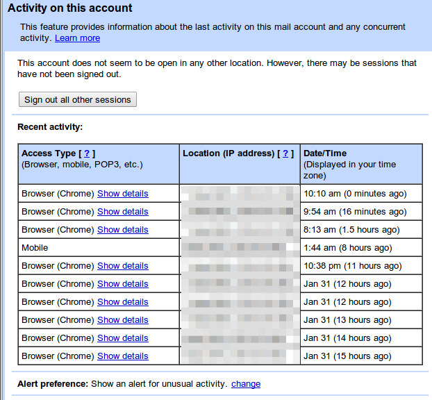 login activity details in Gmail