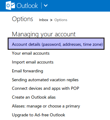 accessing account related info in outlook.com