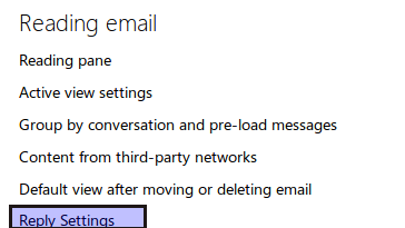 Reply settings in Outlook.com