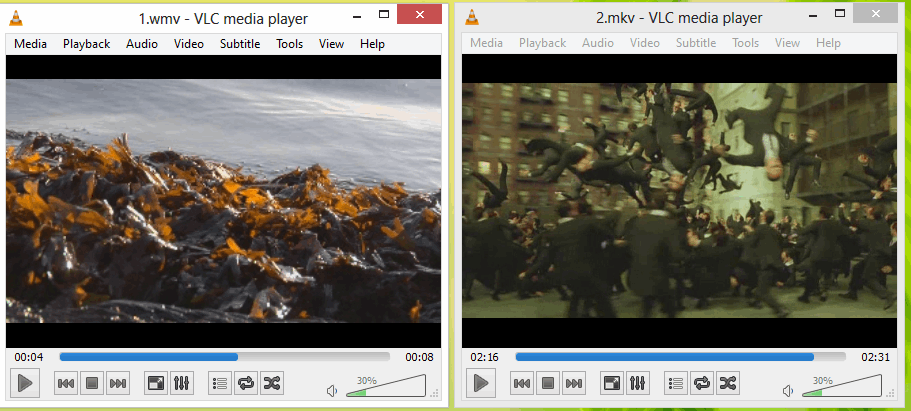 Playing multiple video files simultaneously using VLC player in Windows