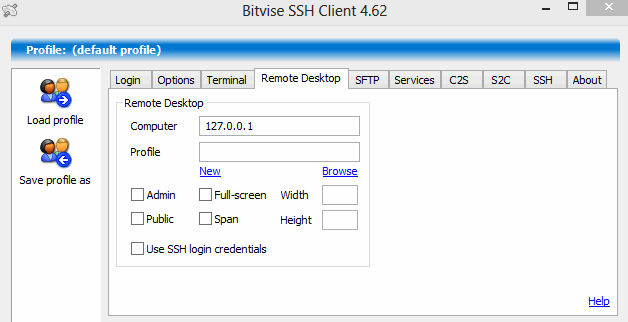 Remote desktop settings in Bitvise SSH client