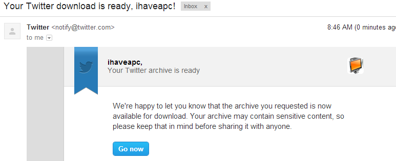 Email containing link to download Twitter archives