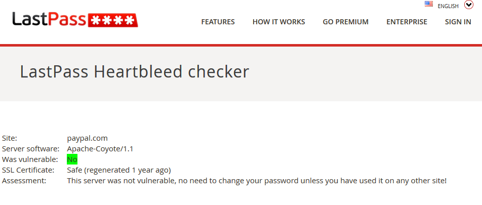 Heartbleed checker from LastPass