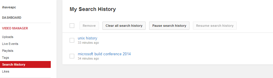 Managing search history in YouTube