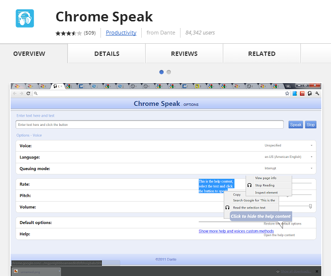 Chrome Speak add-on