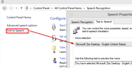 Customizing Text to Speech settings in Windows