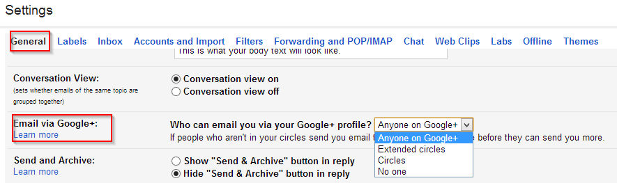 Change Google+ email settings