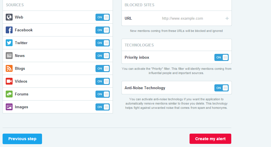 choosing web sources for created alerts in mention
