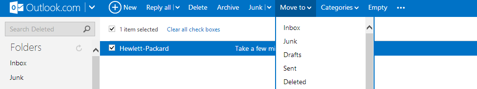Messages that are recovered in Outlook.com