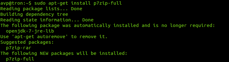 installing 7zip in Ubuntu