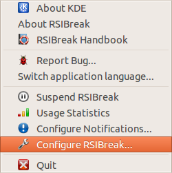 Configuring RSIBreak settings