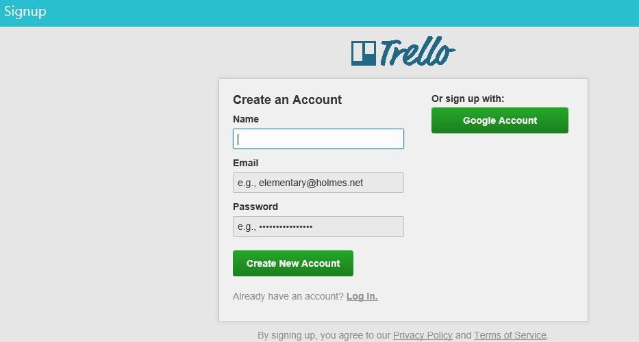 Creating a new account in Trello