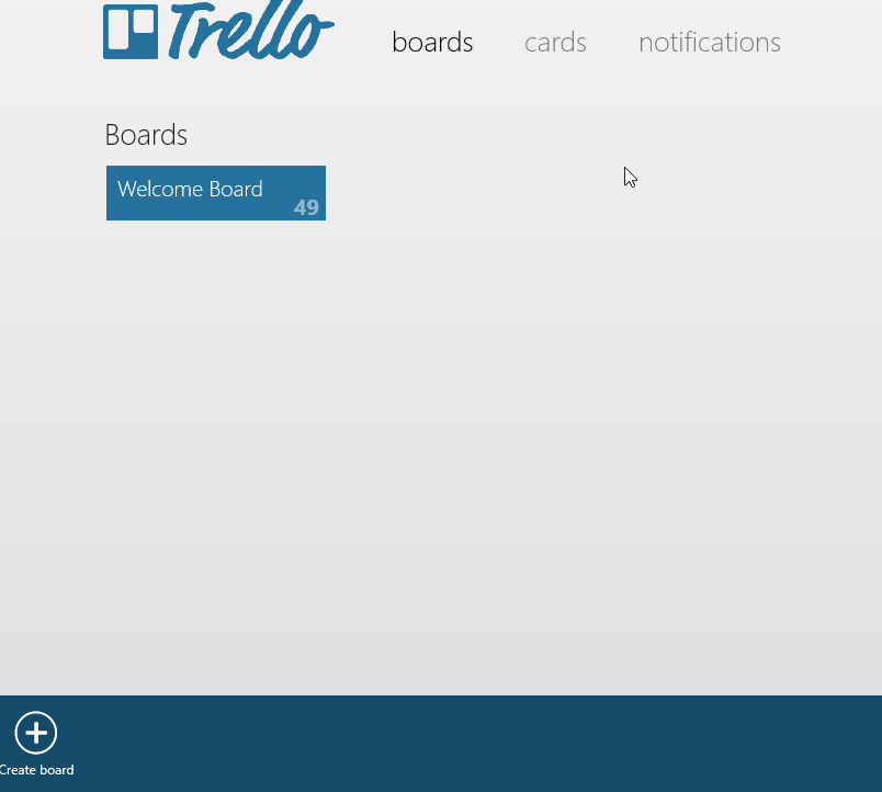 Adding a new board in Trello