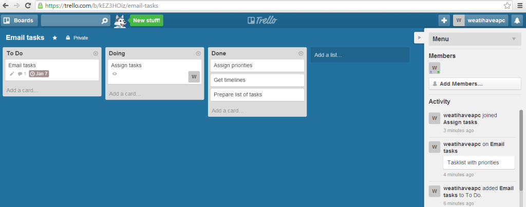 Trello web version