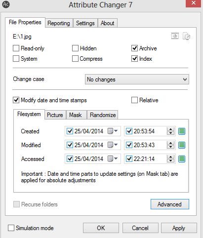 various options to change file attributes in attribute changer