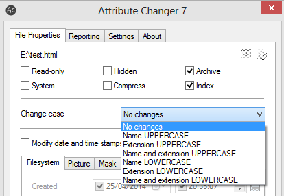 changing file name and extension between uppercase and lowecase using attribute changer