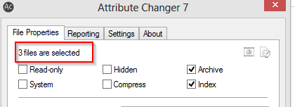 selecting multiple files for changing attributes using attribute changer
