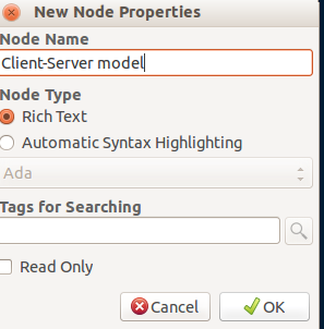 Editing nodes in Cherrytree