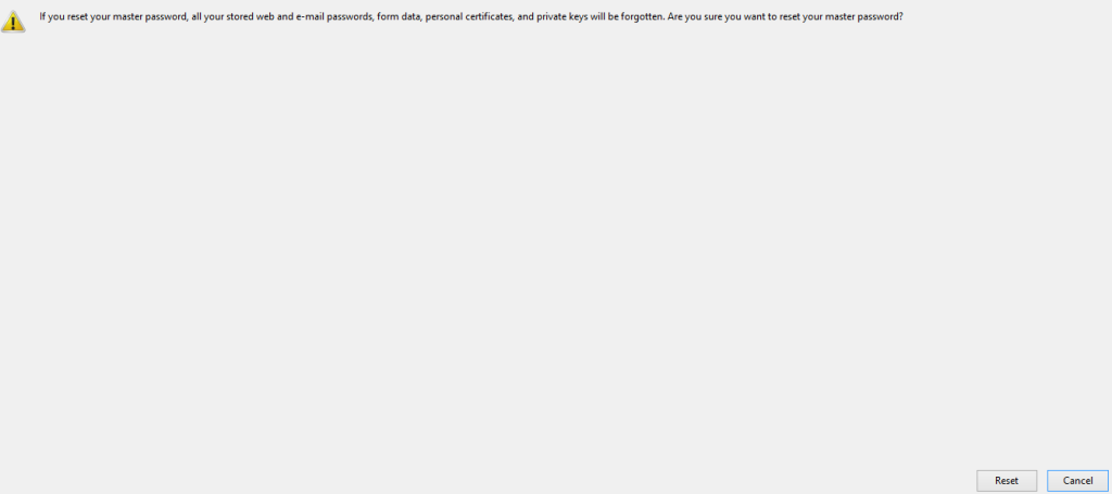 Reset page for master password feature in Firefox