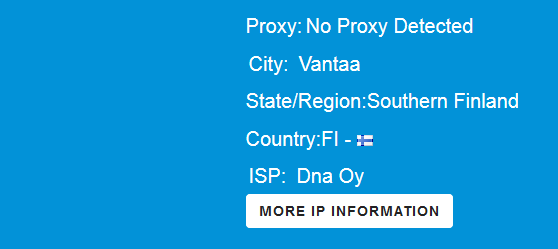 Changed IP details after selecting Hola VPN proxy