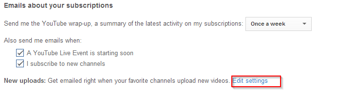 Changing upload notifications about subscribed YouTube channels