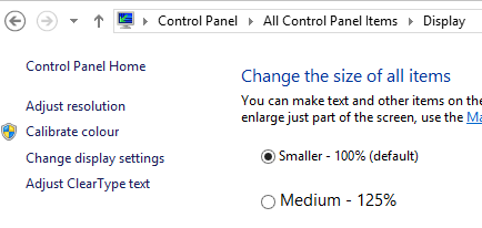 Display settings in Windows control panel