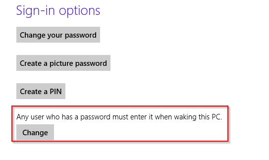 Changing password settings for waking up PC in Windows 8