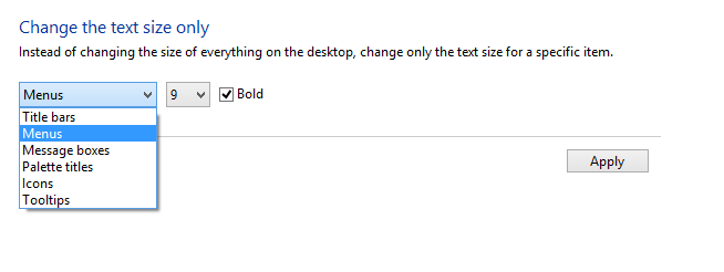 Changing text size of specific items in Windows