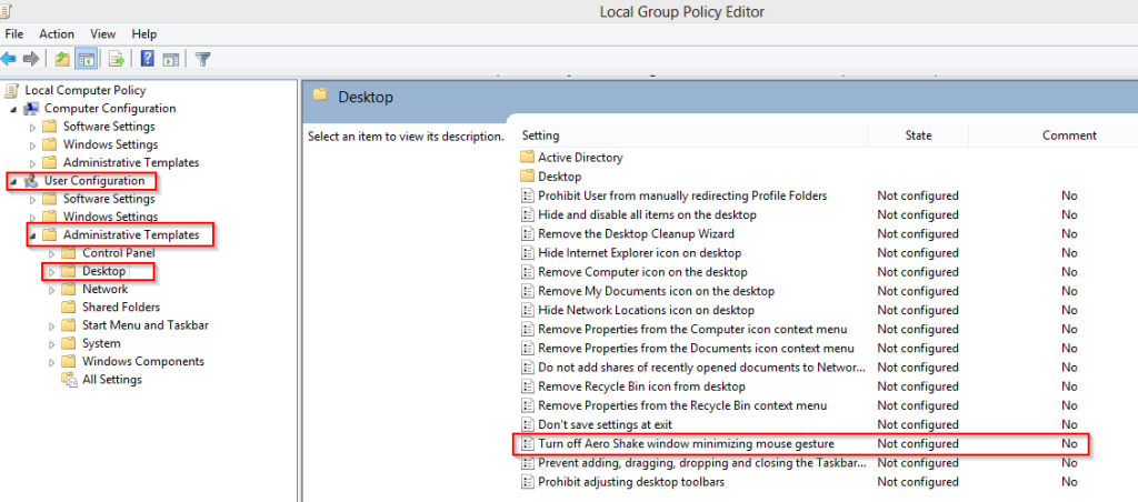 local group policy editor opened in windows 8