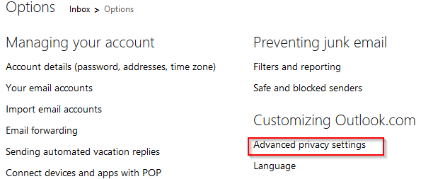 Accessing advanced privacy settings in Outlook.com