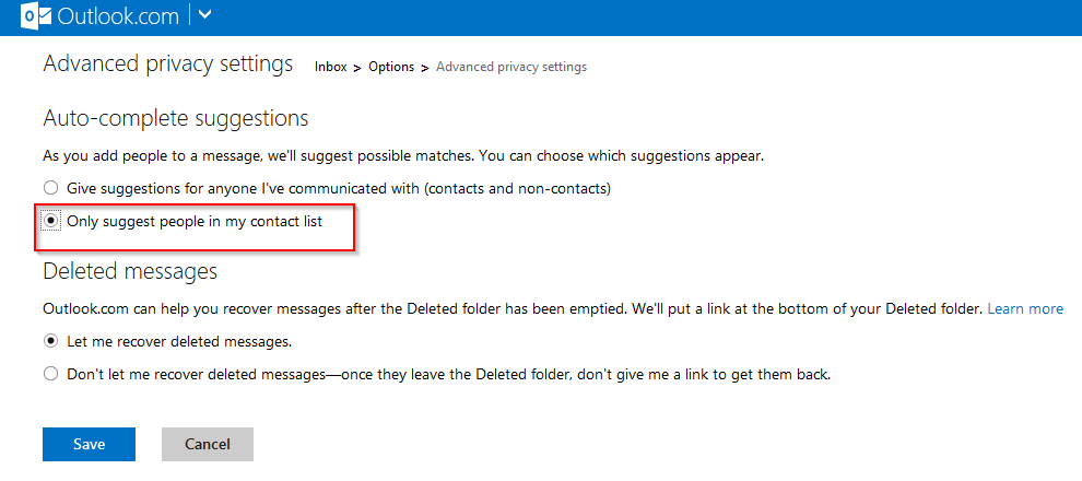 change auto-suggestion settings in Outlook.com