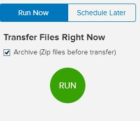 starting the transfer in mover.io
