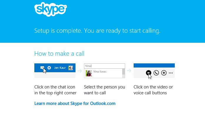 Finished setup of Skype plugin for Outlook.com