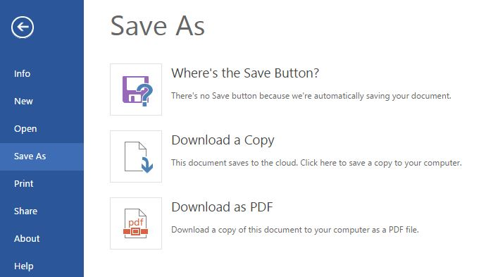 Saving documents through Word Online