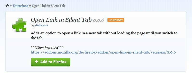 Open Link In Silent Tab add-on for Mozilla Firefox