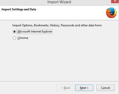 importing bookmarks from Internet Explorer to Firefox