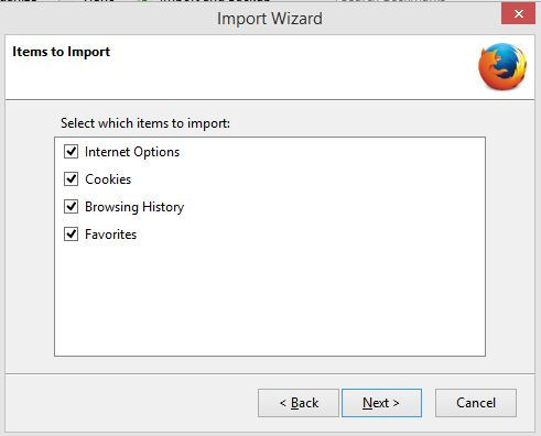 choosing items to import from Internet Explorer to Firefox