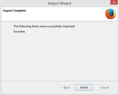 Finished importing bookmarks from Internet Explorer to Firefox