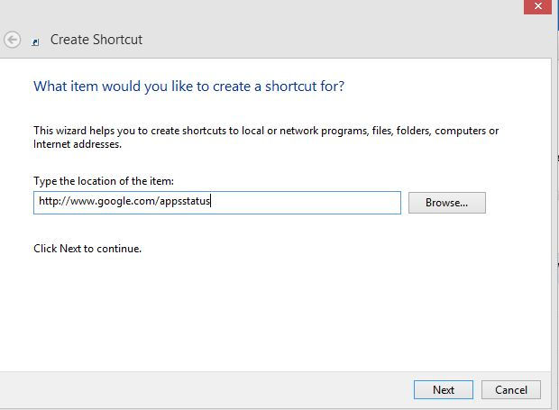 Internet shortcut in Windows pointing to Google Apps status dashboard